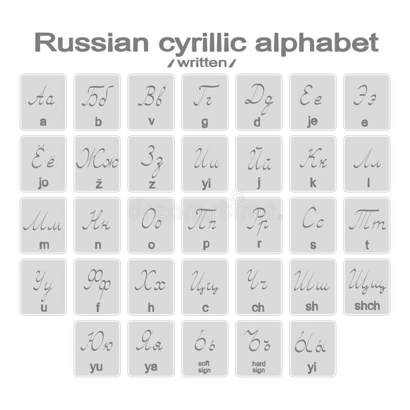 Set monochromatyczne ikony z pisać rosyjskim cyrillic abecadłem ilustracji