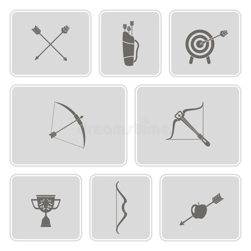 Download Set Monochromatyczne Ikony Z łucznictwem Ilustracja Wektor - Ilustracja złożonej z monochrom, ikona: 57657952