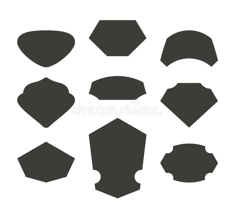 Set monochromatyczni shelds royalty ilustracja