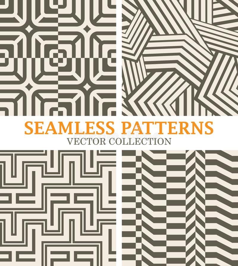 Set Monochromatyczni wektorów wzory z liniami prostymi ilustracji