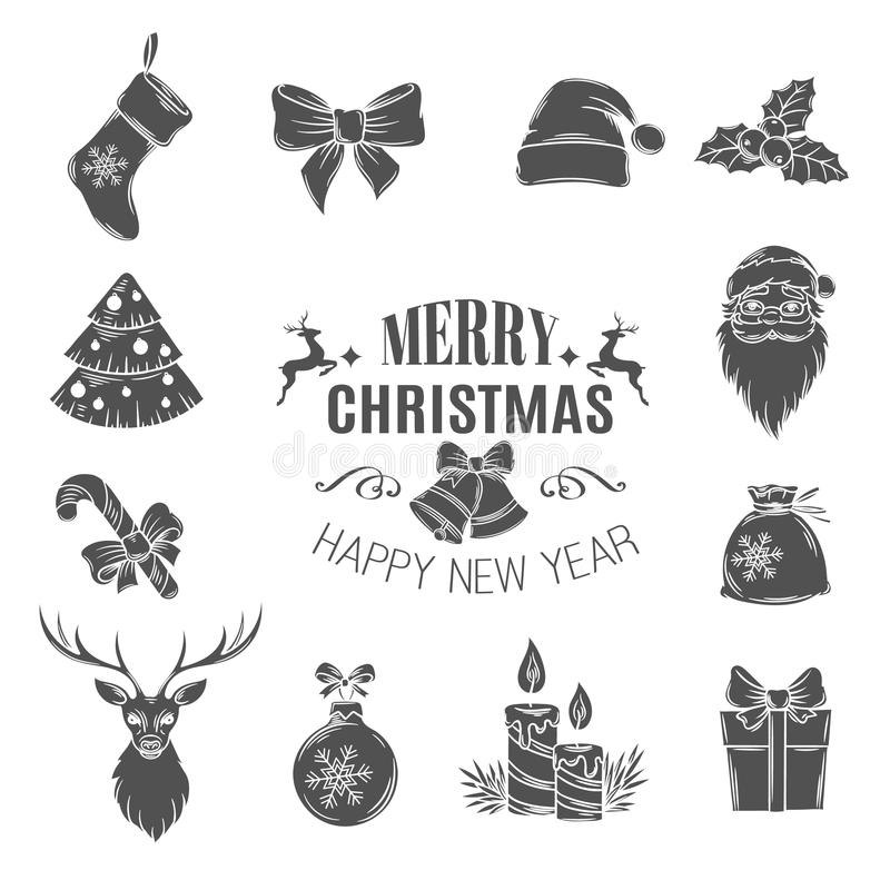 Free Set Monochrome Christmas Icons. Stock Photo - 78246040