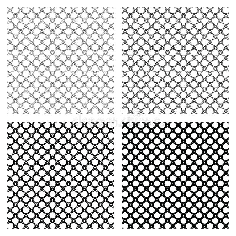 Set of 4 monochrome elegant seamless patterns. Vector ornaments. May be used as background, backdrop or as design element. Vector meshes stock illustration