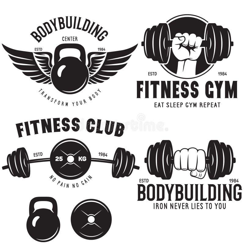 Set of monochrome fitness emblems, labels, badges, logos and designed elements. Vintage gym logo templates. Vector illustrations vector illustration