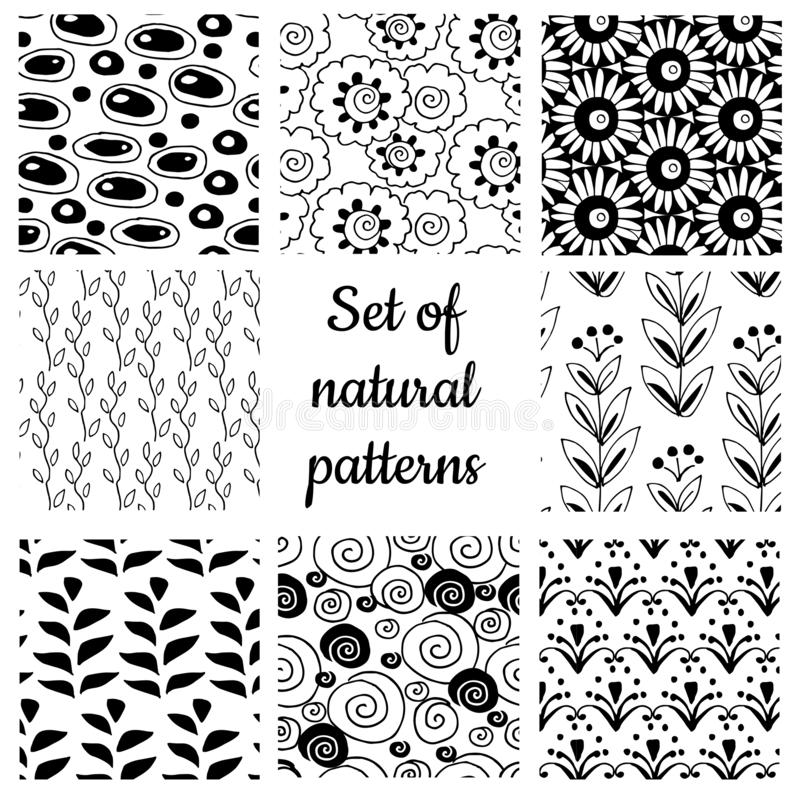 Set of monochrome geometric ornaments royalty free stock photo