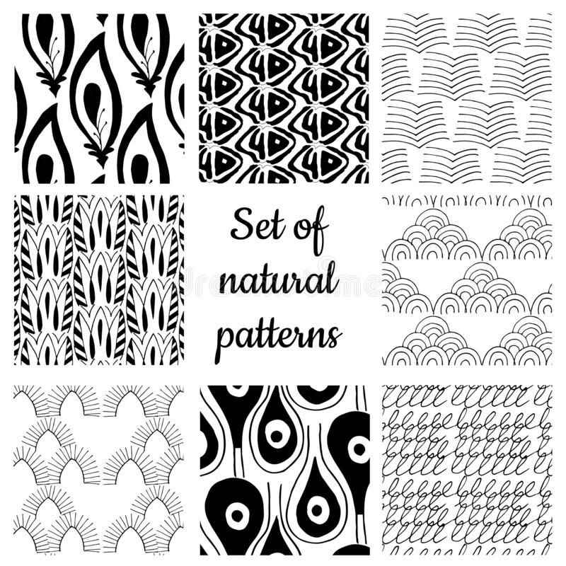 Set of monochrome geometric ornaments stock photos