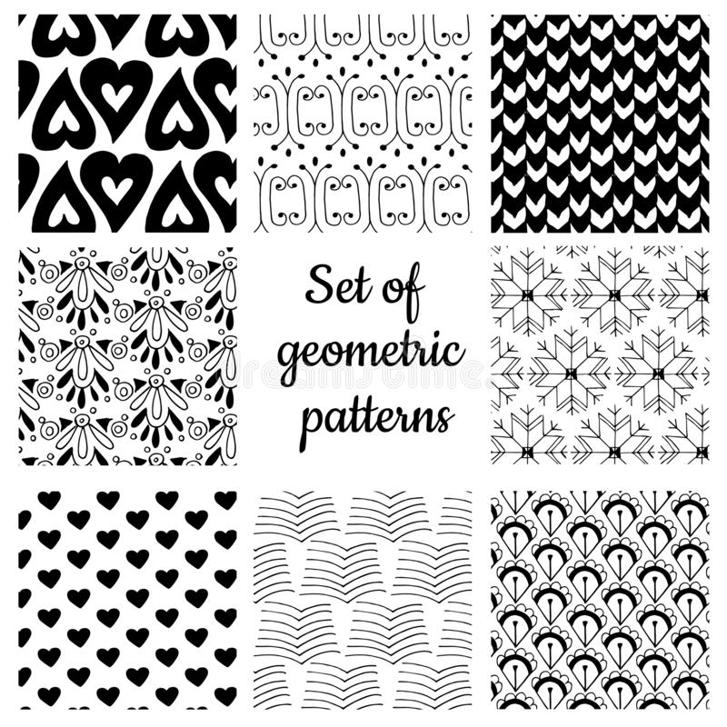 Set of monochrome geometric ornaments royalty free stock photos