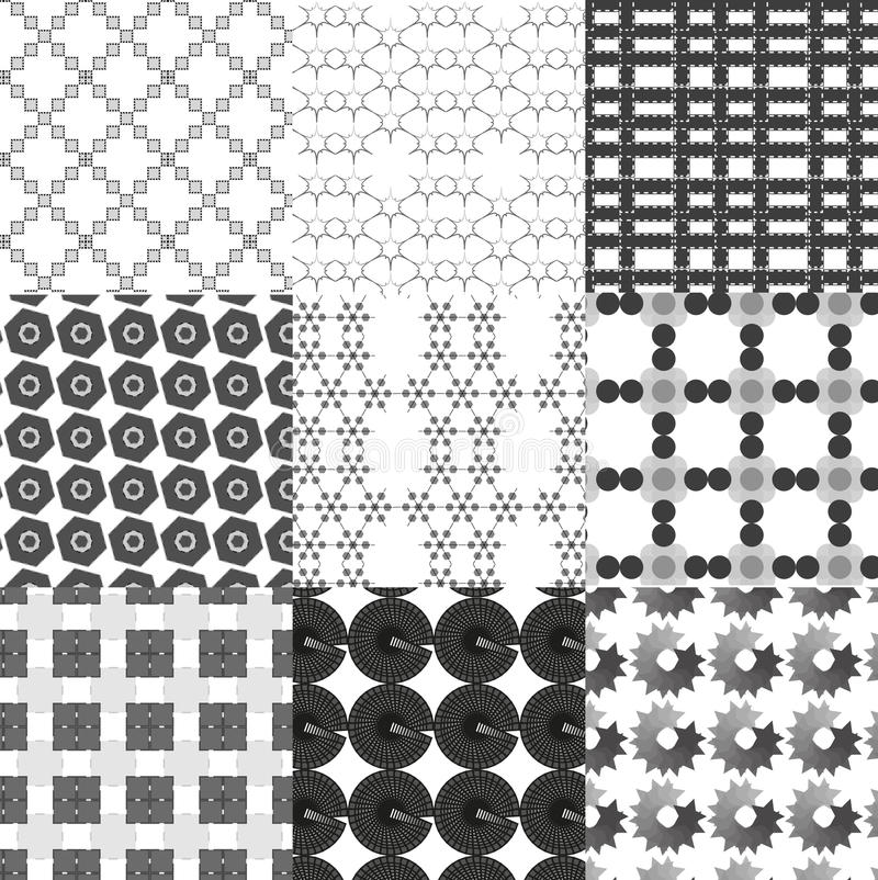 Set Of Monochrome Geometrical Patterns Royalty Free Stock Photos