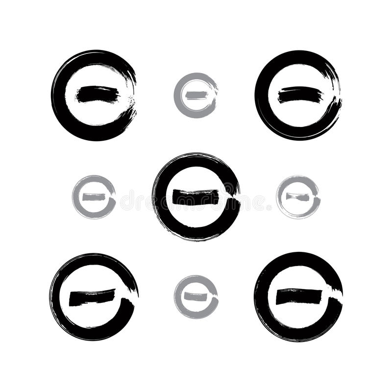 Set of monochrome hand-drawn validation icons scanned and vector vector illustration