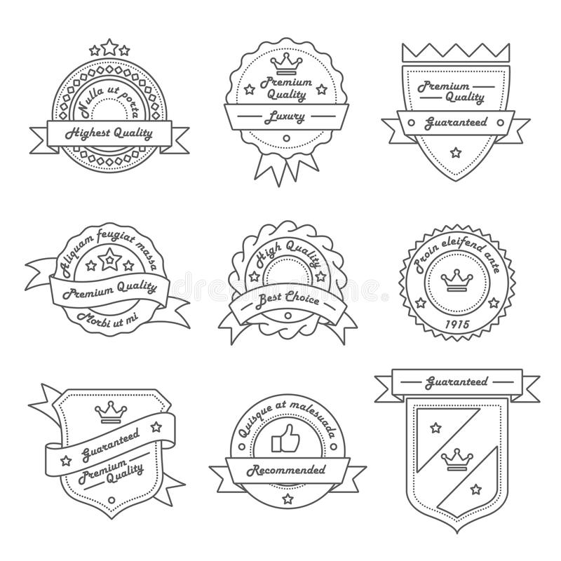 Set of Monochrome Hipster Vintage Label, Logo and Badge Templates. Trendy Line Design. Vector Illustration royalty free illustration