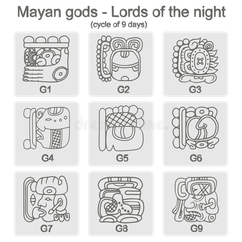 Set of monochrome icons with glyphs of the Maya Night Lord. For your design royalty free illustration