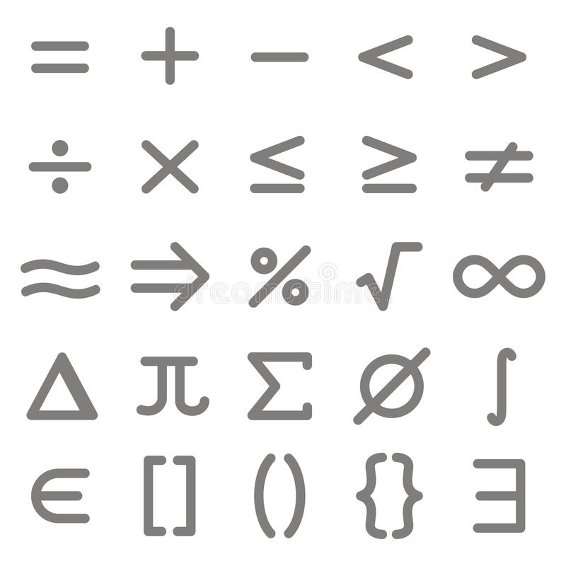 Set Of Monochrome Icons With Mathematical Symbols Stock Vector