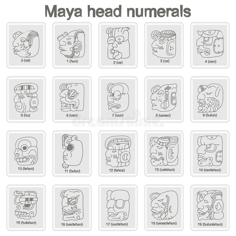 Set of monochrome icons with Maya head numerals glyphs. For your design vector illustration