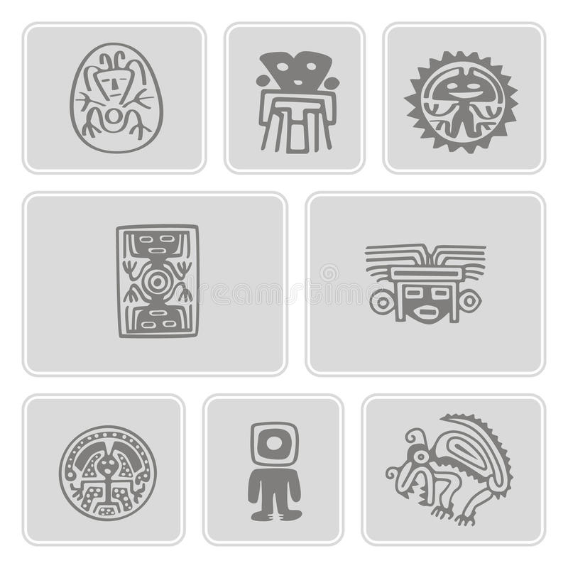 Set of monochrome icons with Mexican relics dingbats characters stock illustration