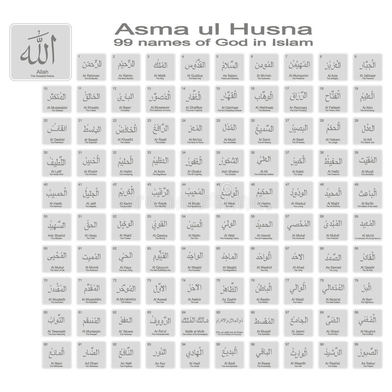 Set of monochrome icons with 99 names of god in islam vector illustration