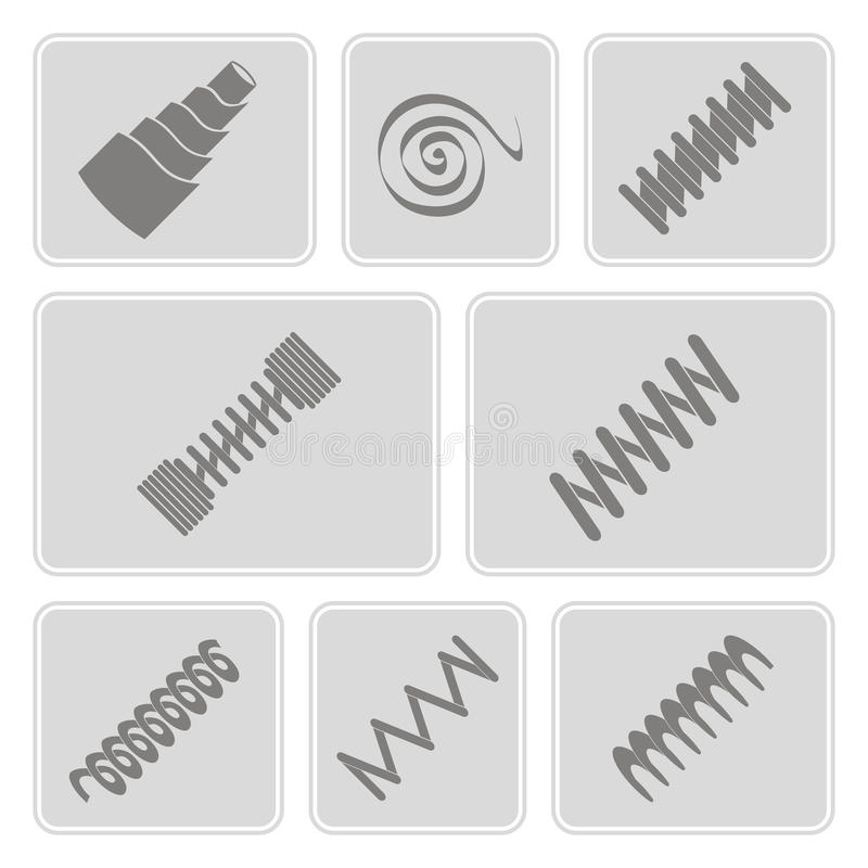 Set of monochrome icons with Springs. For your design stock illustration