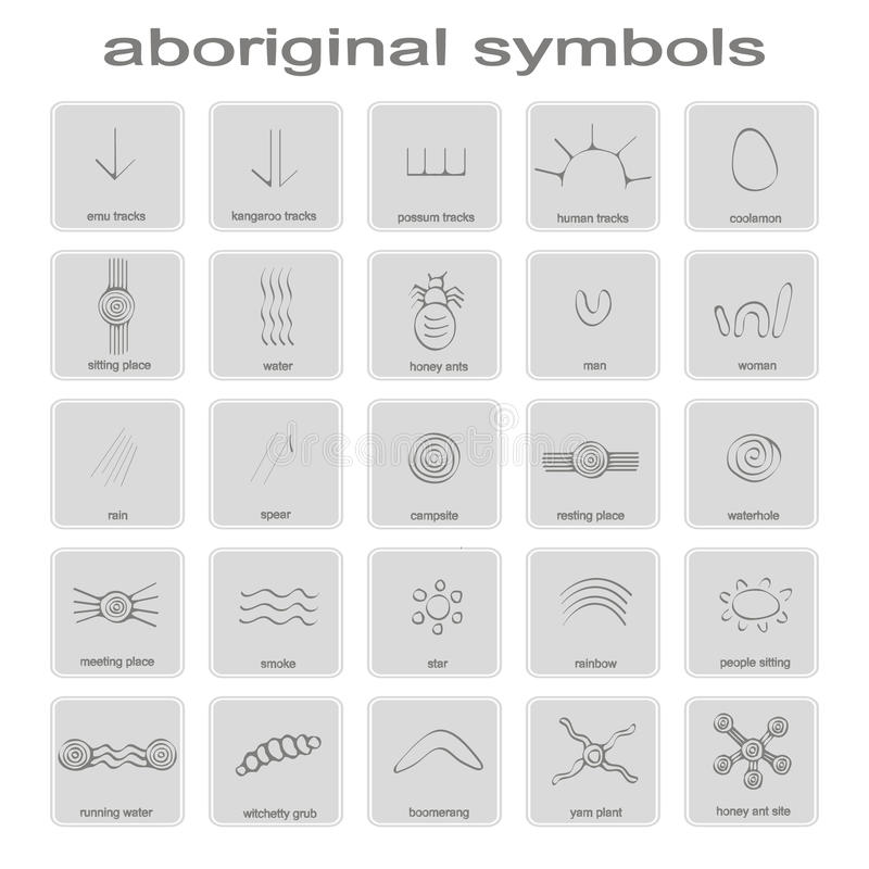 Set Of Monochrome Icons With Symbols Of Australian Aboriginal Art