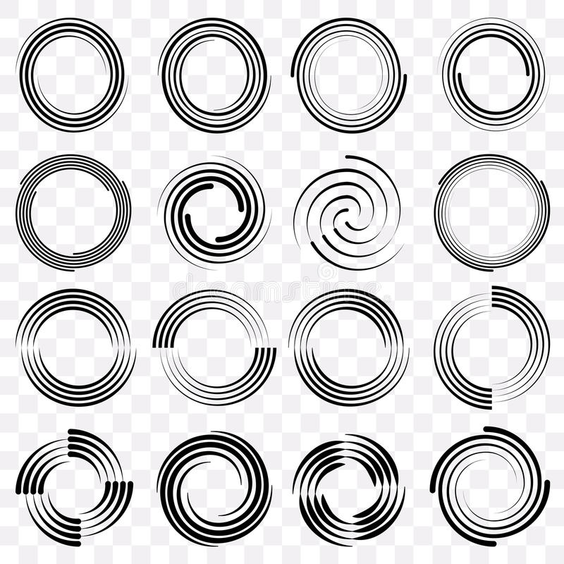 Set Fractal And Swirl Shape Element Vintage Monochrome Round Objects Vector Decorative Sample Outline Black Color In Transparent Background