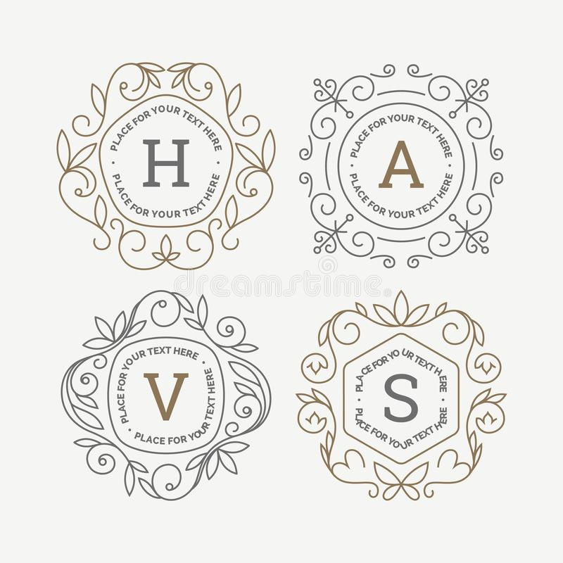 Set monograma loga szablon z zawijasa ornamentu kaligraficznymi eleganckimi ramami Tożsamość projekt z listem dla kawiarni ilustracja wektor