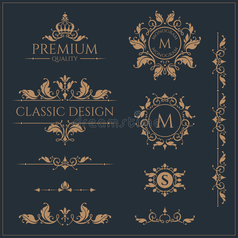 Set of monograms and borders. Graphic design pages. stock illustration