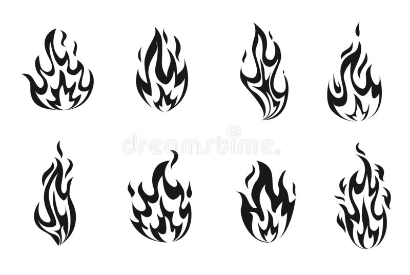 Set monohrome fire flames. vector illustration