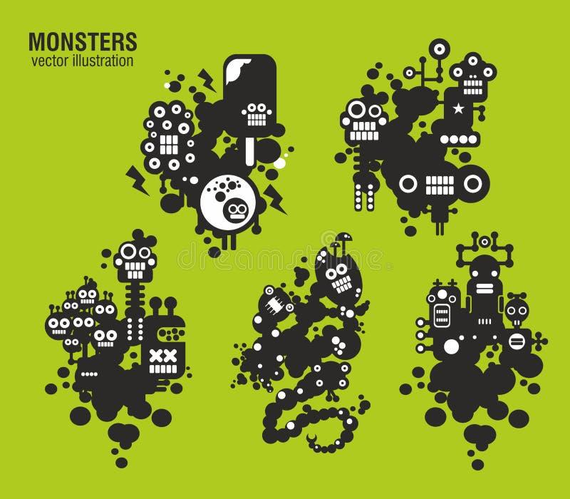 Set of monster illustrations. In cute style. Vector cartoons vector illustration