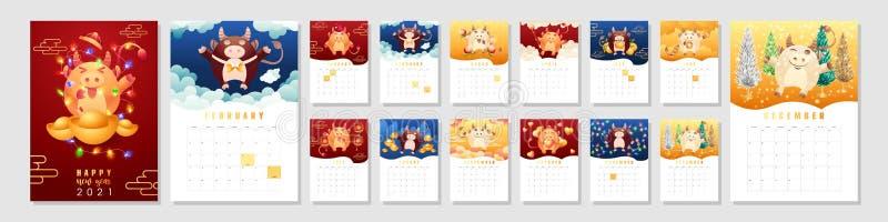Set Of 12 Months Calendar 2021 A4 Format For Print ...