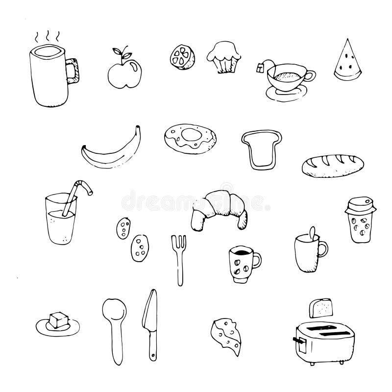 Set of morning breakfast doodle. vector illustration
