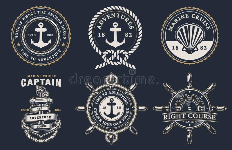 Set morskie odznaki na ciemnym tle ilustracja wektor