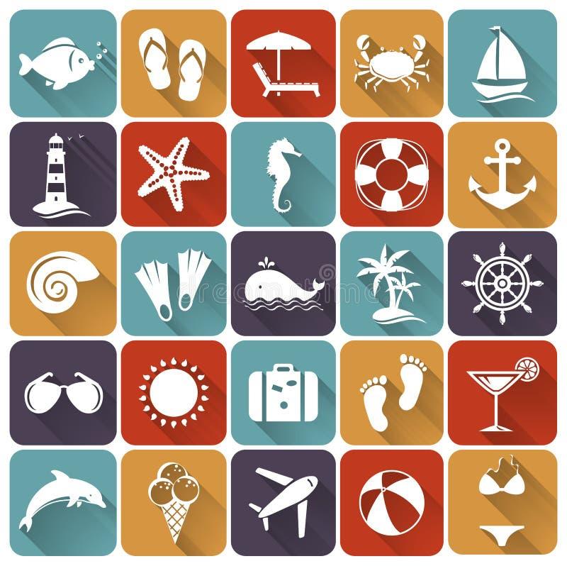 Set morza i plaży mieszkania ikony. Wektorowa ilustracja. ilustracji