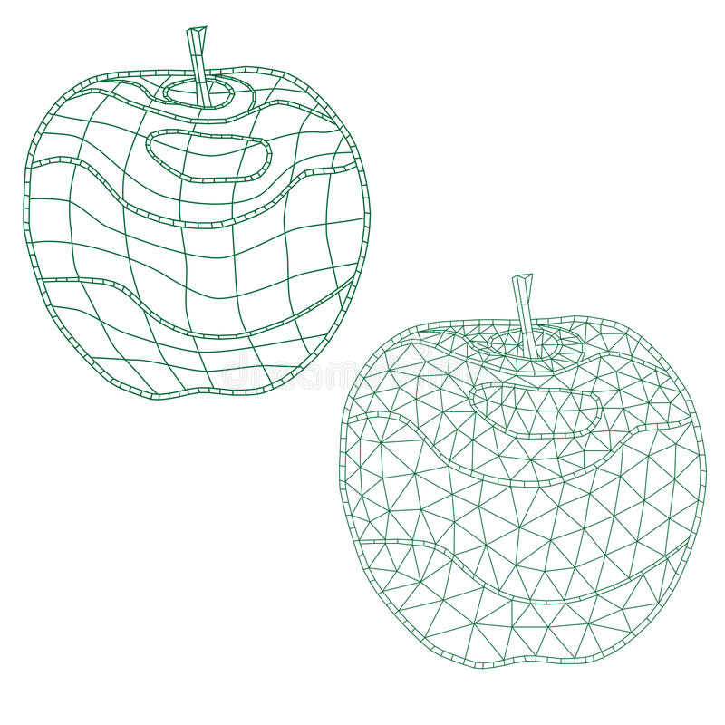 Set of mosaic apples. for coloring and design. isolated. easy to modify. stock photos