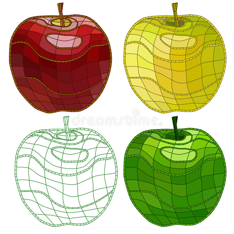Set of colorful mosaic apples. isolated. easy to modify. royalty free stock photo