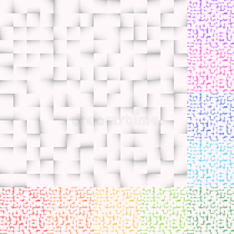 Set of mosaic patterns in several color. Squares pattern, square royalty free illustration