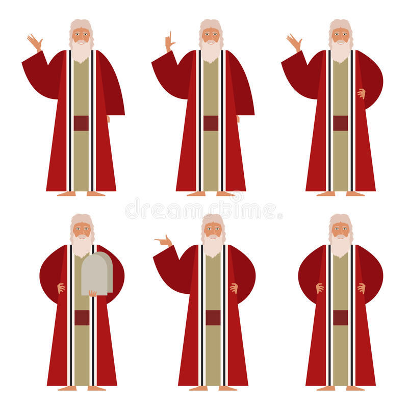 Set of Moses. Vector image of the set of Moses vector illustration