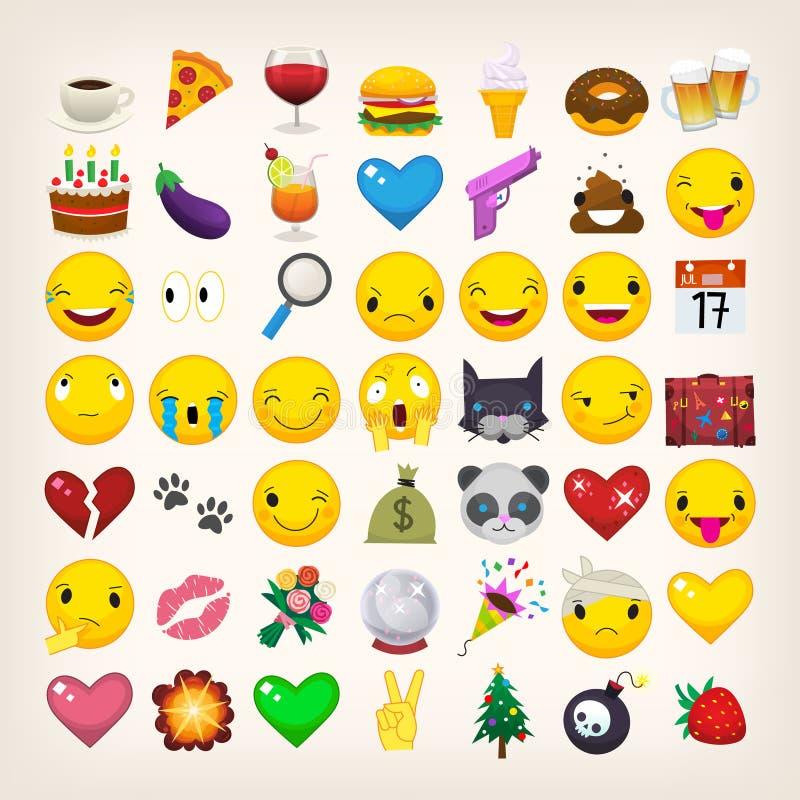 Emojis and emoticons stock illustration
