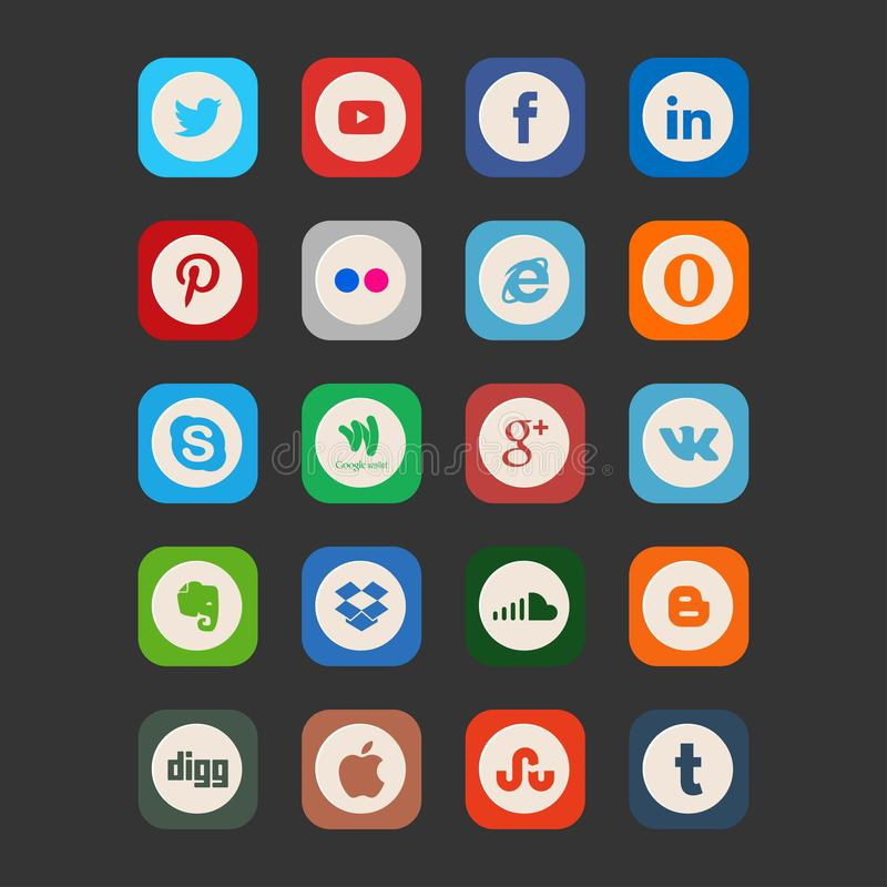 Set of most popular social media stock illustration