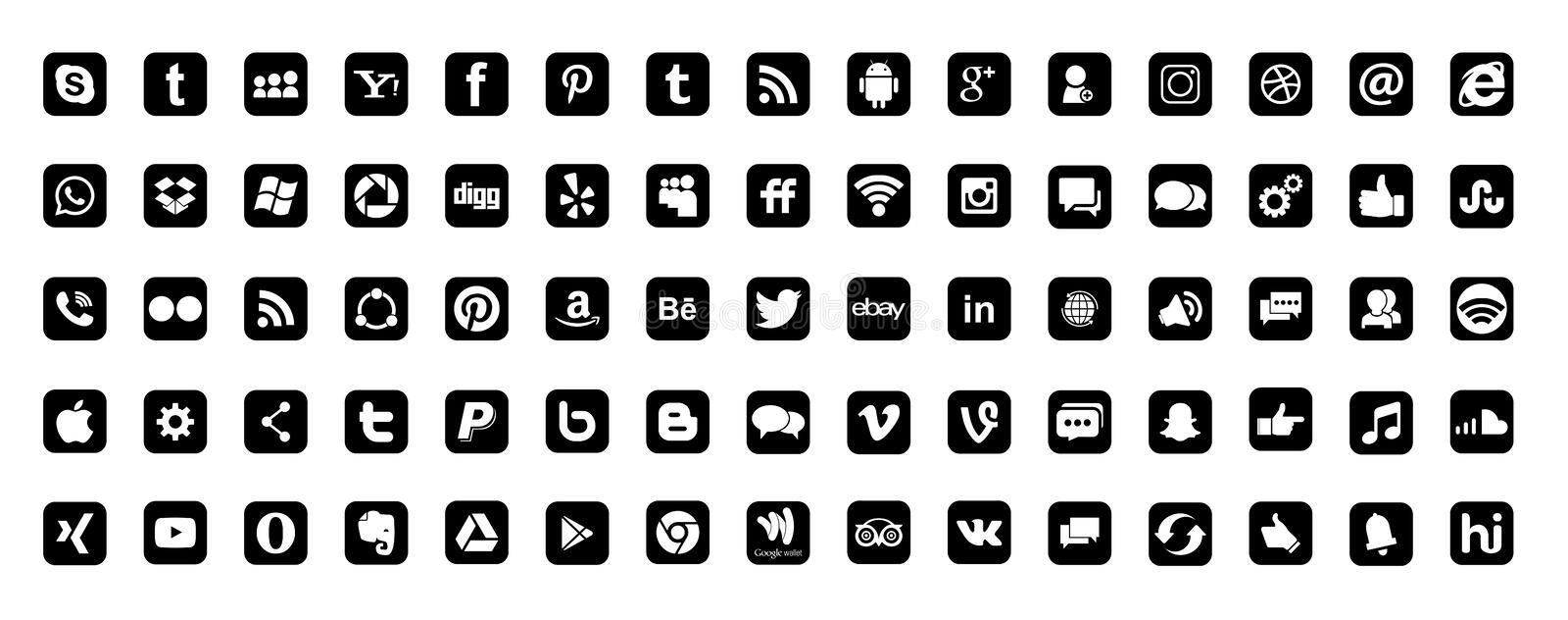 Set of most popular social media logos icons black Instagram Facebook Twitter Youtube WhatsApp LinkedIn Pinterest Blogd on white royalty free illustration