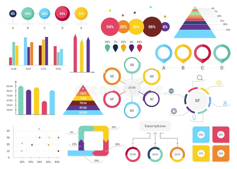 Set of most useful infographic elements - bar graphs, pie charts, steps and options, workflow, puzzle, percents, circle. Diagram, timeline, vector illustration royalty free illustration