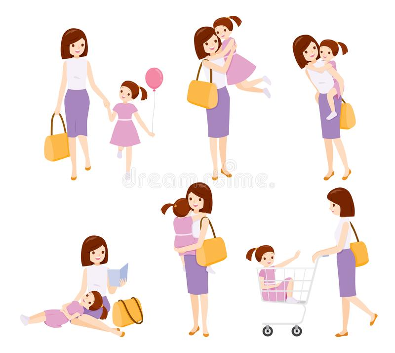 Set Of Mother And Daughter Relaxing With Many Activities Together royalty free stock photos