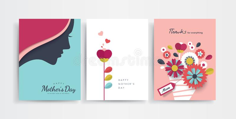 Happy Mother`s Day. Set of Mother`s Day greeting cards with paper cut flowers and typography vector illustration