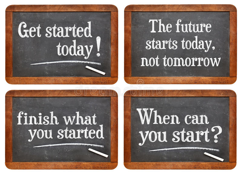 Set of motivational blackboard signs royalty free stock photos