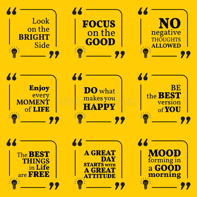 Quotes On Positive Thinking Cool Set Of Motivational Quotes About Positive Thinking Optimism Stock
