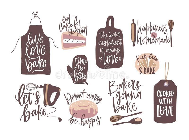 Set of motivational slogans handwritten with cursive font decorated by cooking or baking design elements. Bundle of royalty free illustration