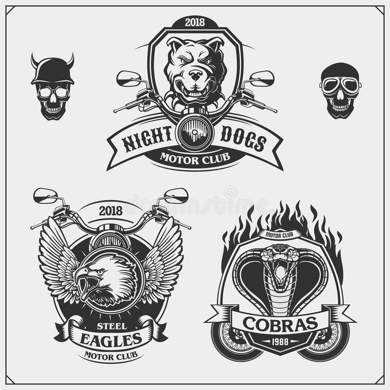 Set of Moto club emblems, labels and design elements. Emblems with bulldog, eagle and cobra. stock illustration