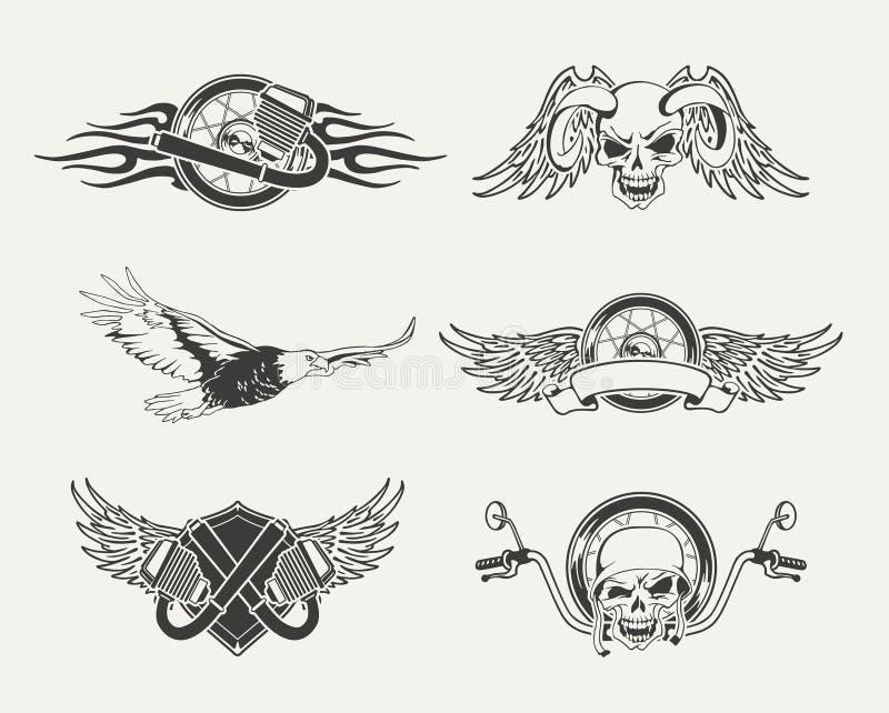 Set motocykli/lów emblematy, odznaki, etykietki royalty ilustracja
