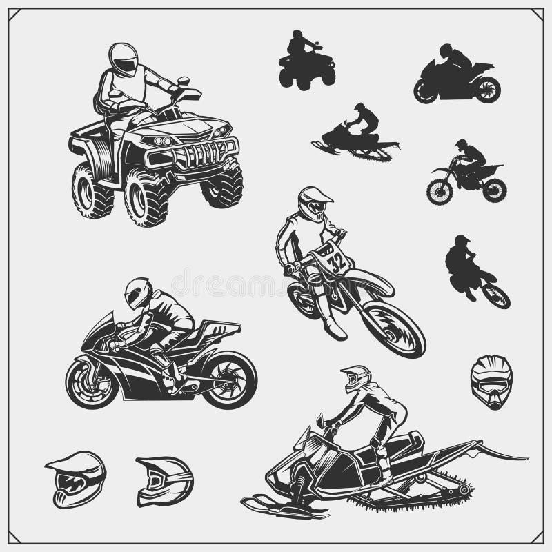 Set of motor sport, snowmobile, quad bike illustrations. Print design for t-shirt and sport club emblems and dedign elements. royalty free illustration