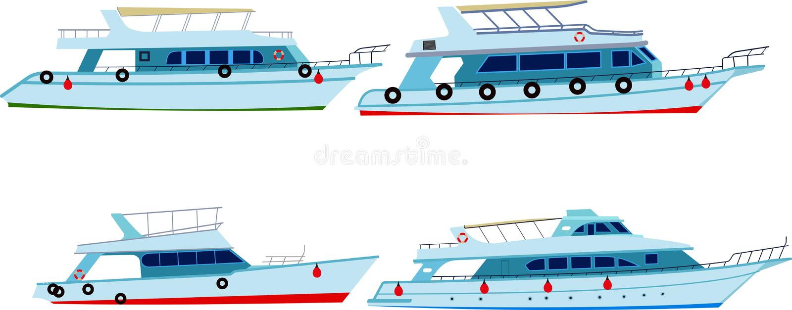 Set of motor yachts stock illustration