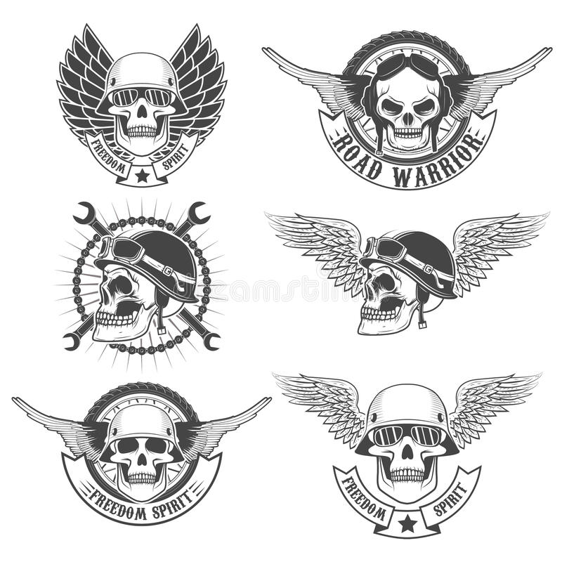 Set of motorcycle club labels templates.Skulls in motorcycle helmets with wings. royalty free illustration