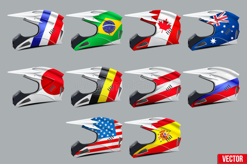 Set of Motorcycle Helmets. Set of Original Motorcycle Helmets with flags. Extreme enduro motocross style. Vector Illustration stock illustration