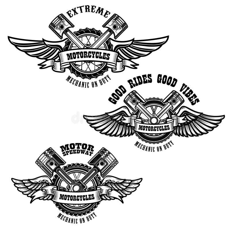 Set of motorcycle repair emblems. Bike motor, pistons. Design element for logo, label, emblem, sign, poster. royalty free illustration