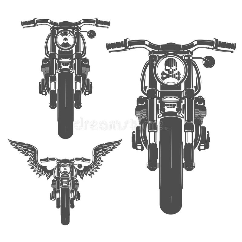 Set of motorcycle vintage style emblems, logo ,tattoo and prints royalty free illustration